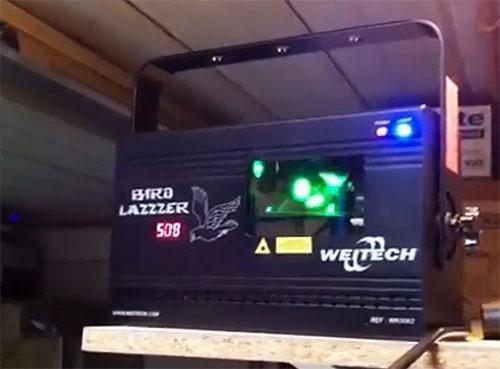 """Лазерный отпугиватель птиц """"Weitech WK-0062"""" можно установить на любое возвышенное место склада или ангара для наилучшего охвата лучами защищаемого пространства"""